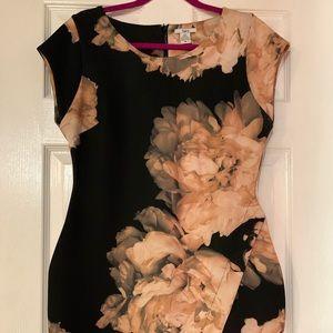 Bar III Floral Print Envelope Scuba Dress XL